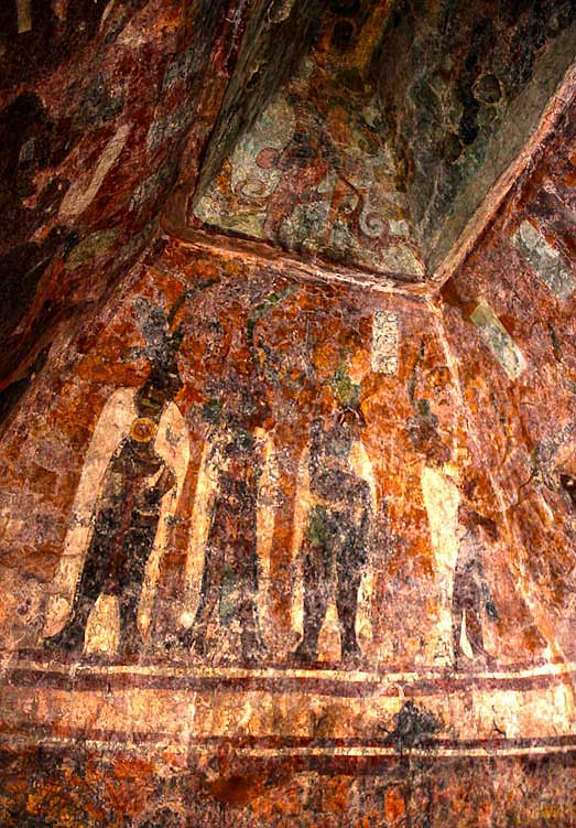 Frescos in Structure 1 at Bonampak (left room), possibly depicting Chaan Muan and his family engaged in ritual bloodletting