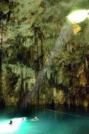 Cenote. The Yucatán Peninsula is covered with a limestone shelf and rain water penetrates the limestone quickly and forms pools and rivers underground